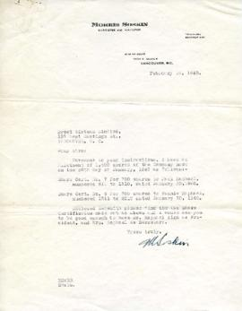 Letter from Morris Soskin to Sweet Sixteen Limited February 19, 1940