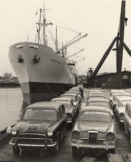 "Cargo of British cars on the SS ""Mostun"""