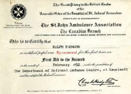 First Aid Re-Certification, February 1932