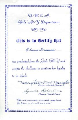 Girls Hi-Y graduation certificate, [1950-1954]