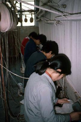 Workers in a textile factory