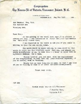 M. L. Platnauer to M. Badaker Inviting him to come for a trial period - August 7, 1931