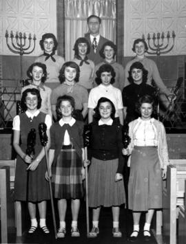 Group of young women in synagogue