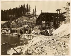 Construction of bridge and dam powerhouse at Ruskin, British Columbia
