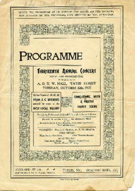 Programme – Thirteen Annual Concert