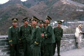 Soldiers of the PLA (People's Liberation Army) of China on the Great Wall of China