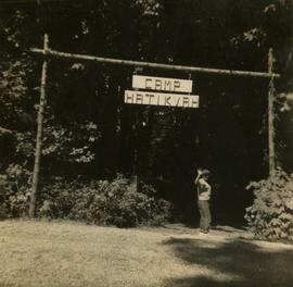 "Camp Hatikvah, Crescent Beach - Arch-way, built by staff ""Hi Maria"""