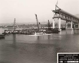 No. 23 - Second Narrows Bridge, Barges with Cranes, Concrete Pier, Course of Construction