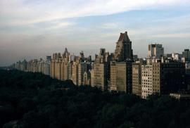 Skyline of buildings on the right side of the image and Central Park to the left