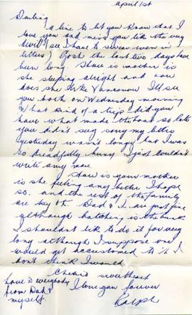 Letter from Ralph, April 1, 1933