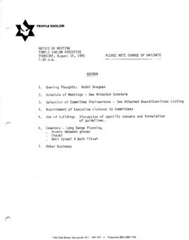 Minutes for Executive Meeting, August 15, 1991