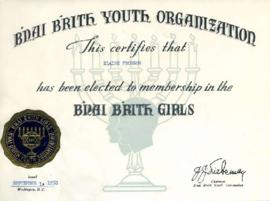 Certificate of membership to the B'nai B'rith girls, September 1, 1950