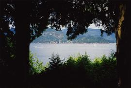 [View looking through trees at the water from the back deck of the Snider's home]