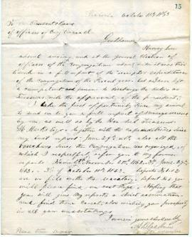 A. Blackman to the Congregation - treasurer's report - October 11, 1863