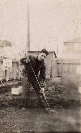 Harry Seidelman working in the garden at the family home