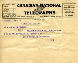 Telegram from Mrs. H. Kosche and Mrs. Muller, April 5, 1933