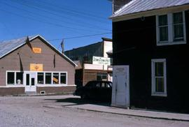 Few buildings in Dawson City, a hotel, a clothing store and a lounge