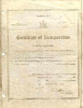 Certificate of Incorporation Tenth of May One Thousand Nine Hundred and Seventy-Three