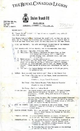 Royal Canadian Legion Branch Meeting Reminder and Agenda September 11, 1985