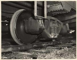 Close view of train wheel