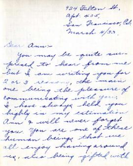 Letter from Mrs. H. Lacterman, March 4, 1933