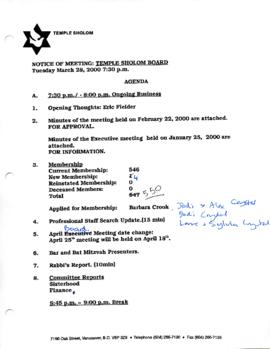 Minutes for Board Meeting, March 28, 2000
