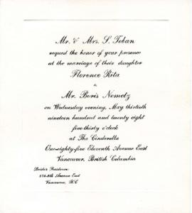 [Wedding invitation for Florence Rita Toban and Boris Nemetz]