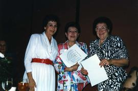 [Renee Lifchus holding B'nai B'rith Women Fund Raising Award]