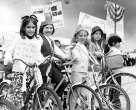 Children with bicycles [possibly Beth Israel parade]