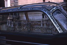 Decorated car with chandeliers inside
