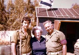 Esther Dayson with two men [possibly border guards] at outpost in Israel