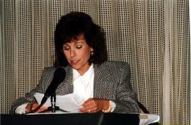 """Juish T.V."" woman reading speech"