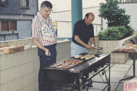 B'nai B'rith BBQ, two men at grill