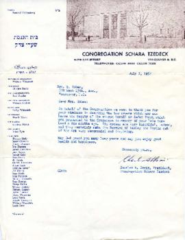 [Letter to Mrs. S. Toban from Charles A. Davis, President Congregation Schara Tzedeck]