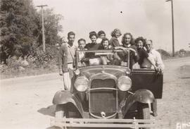 Camp Hatikvah, group in Arthur Goldberg's 'Arts' Car', including Arthur Goldberg and Harold Lenett