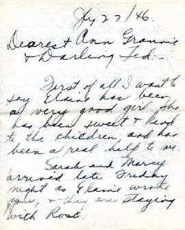 Letter from Elizabeth, July 27, 1946