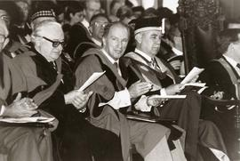 Nathan Nemetz and Pierre Trudeau (receiving honorary degree), Lt. Gov. Robert Rogers, University ...