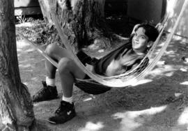 Gabe Davis in hammock at Camp Hatikvah