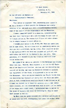 F. Landsberg to the Congregation respecting a misunderstanding over a donation - November 4, 1930