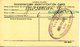 G. Grossman Immigration Card