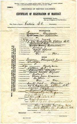 Benjamin Grossman & Margaret Jane Ingram Marriage Certificate
